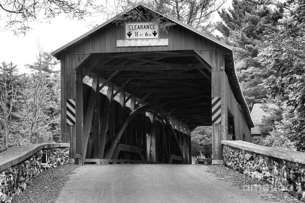 Photograph - Lush Landscape At The Rice's Covered Bridge Black And White by Adam Jewell