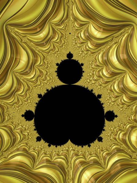 Wall Art - Digital Art - Luxe Mandelbrot Set Golden And Black Fractal by Matthias Hauser