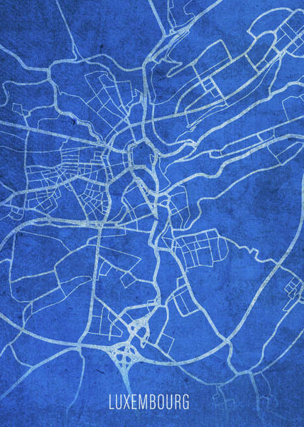 Wall Art - Mixed Media - Luxembourg Europe City Street Map Blueprints by Design Turnpike