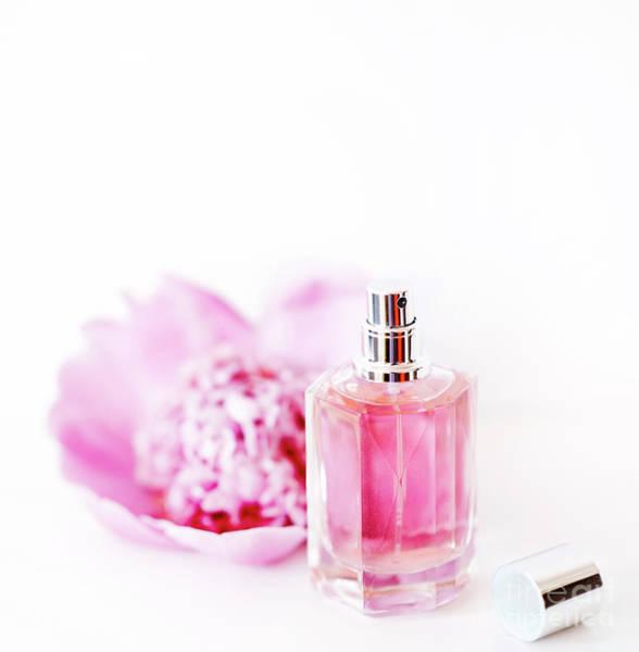 Perfume Photograph - Luxury Perfume Bottle And Pink Peony Flower Isolated On White Ba by Jelena Jovanovic