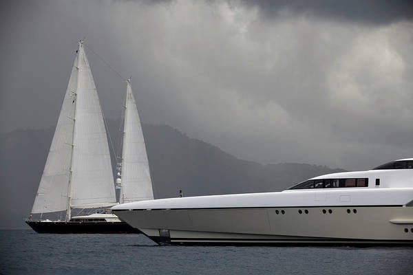 Yacht Photograph - Luxury Yacht And Sailboats Before A by Laughingmango