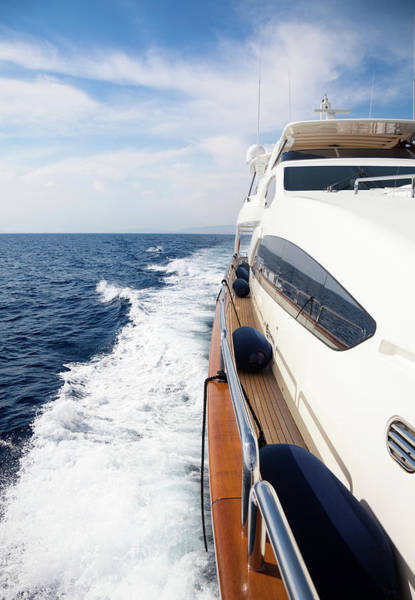 Boat Deck Photograph - Luxury Yacht Sailing At Sea by Petreplesea