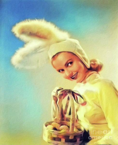 Lynn Wall Art - Painting - Lynn Merrick, Vintage Actress by John Springfield
