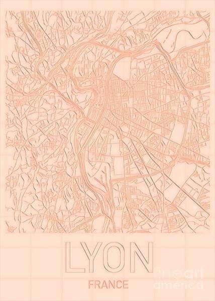 Digital Art - Lyon Blueprint City Map by Helge