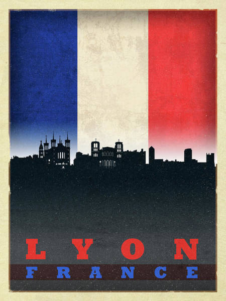 Wall Art - Mixed Media - Lyon France City Skyline Flag by Design Turnpike