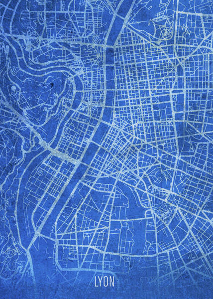 Wall Art - Mixed Media - Lyon France City Street Map Blueprints by Design Turnpike