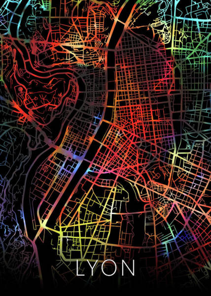Wall Art - Mixed Media - Lyon France Watercolor City Street Map Dark Mode by Design Turnpike