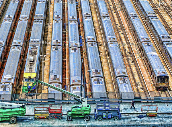 Wall Art - Photograph - M T A Railway Cars Yard - N Y C by Allen Beatty
