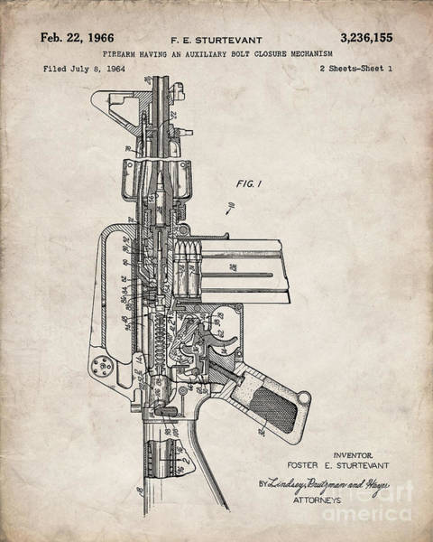 Ar 15 Wall Art - Digital Art - M16 Rifle Patent, Military Rifle Art - Antique Vintage by Patent Press