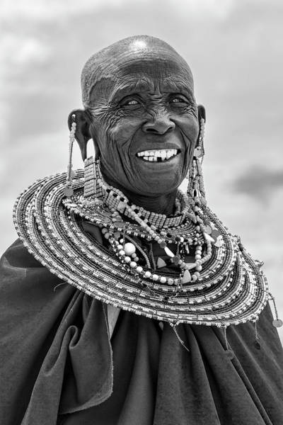 Photograph - Maasai Woman In Black And White by Kay Brewer