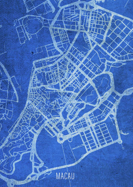 Wall Art - Mixed Media - Macau China City Street Map Blueprints by Design Turnpike
