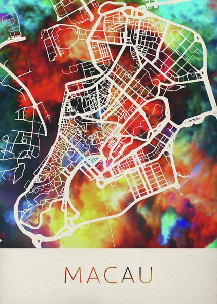 Macau Mixed Media - Macau China Watercolor City Street Map by Design Turnpike
