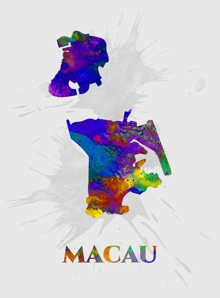 Macau Mixed Media - Macau, Map, Artist Singh by Artist Singh MAPS