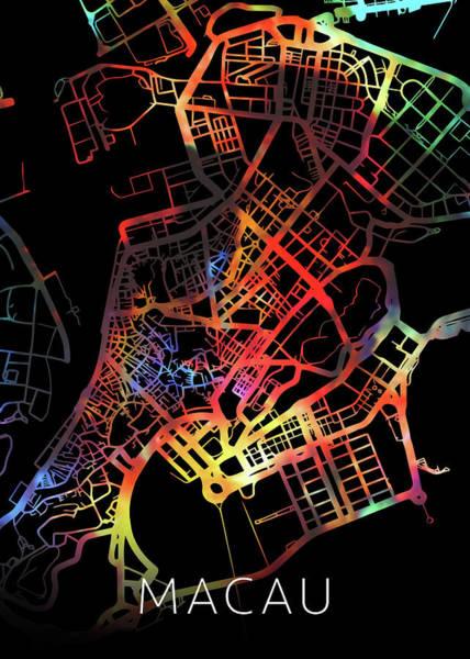 Macau Mixed Media - Macau Watercolor City Street Map Dark Mode by Design Turnpike