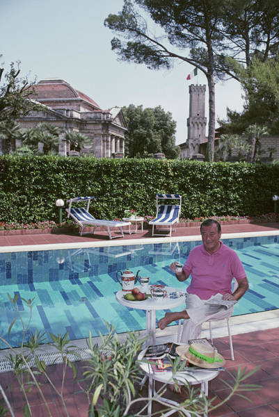 Pool Table Photograph - Maccioni By His Pool by Slim Aarons