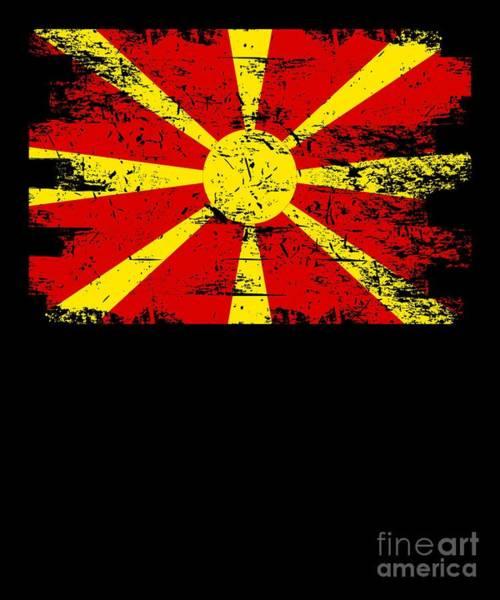 Macedonia Digital Art - Macedonia Gift Country Flag Patriotic Travel Shirt Europe Light by J P