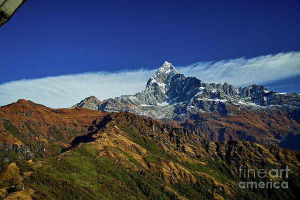 Wall Art - Photograph - Machapuchare Mountain Fishtail In Himalayas Range Nepal by Raimond Klavins