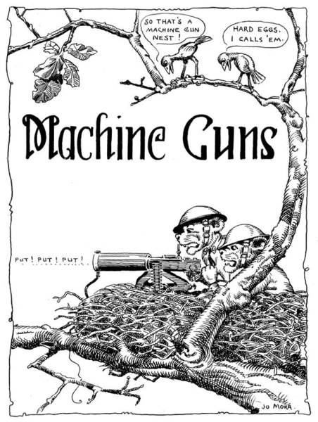 Photograph - Machine Gun C M T C  By Jo Mora 1926 by California Views Archives Mr Pat Hathaway Archives
