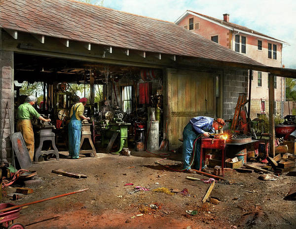Photograph - Machinist - Backyard Machinists 1942 by Mike Savad