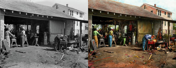 Photograph - Machinist - Backyard Machinists 1942 - Side By Side by Mike Savad