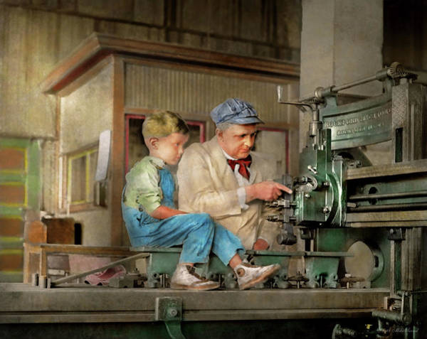 Photograph - Machinist - Spending Time With Grandpa 1921 by Mike Savad