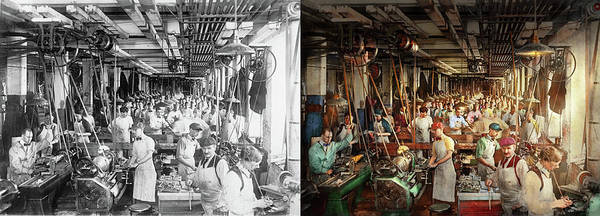 Photograph - Machinist - War - Making Munitions 1916 - Side By Side by Mike Savad