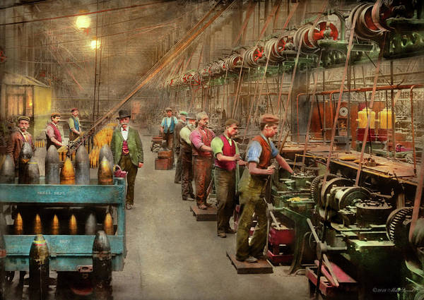 Photograph - Machinist - War - The Shell Dept 1900 by Mike Savad
