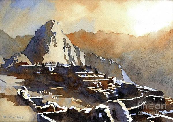Wall Art - Painting - Machu Picchu Sunet- Peru by Ryan Fox