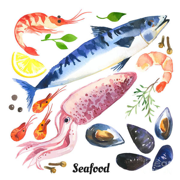 Wall Art - Digital Art - Mackerel. Scomber. Watercolor Set Of by Monash