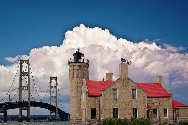 Photograph - Mackinac Bridge And The Mackinaw City Lighthouse At The Straits Of Mackinac In Michigan by Randall Nyhof