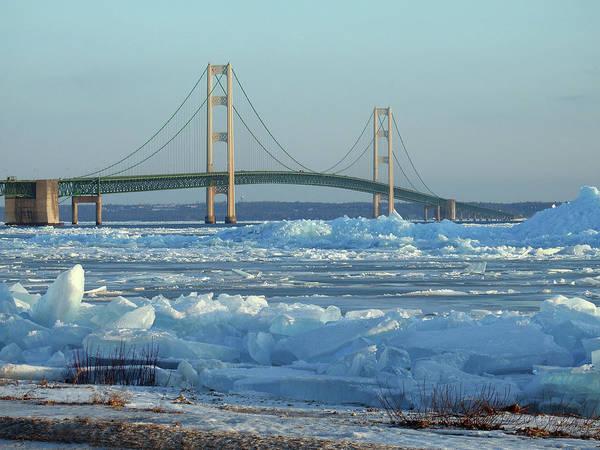 Photograph - Mackinac Bridge In Ice 2161801 by Rick Veldman