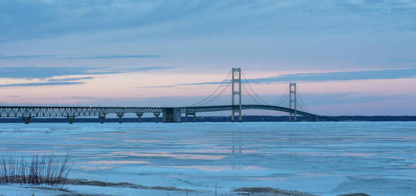 Photograph - Mackinac Bridge In Ice 2161803 by Rick Veldman