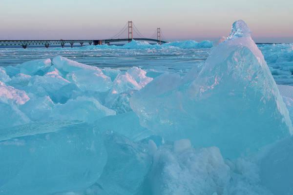 Photograph - Mackinac Bridge In Ice 2161806 by Rick Veldman