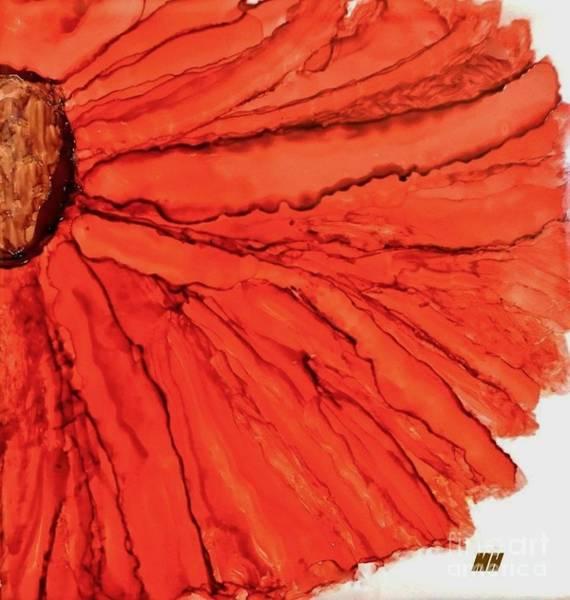 Wall Art - Painting - Macro Orange Gerbera On Ink Tile by Marsha Heiken