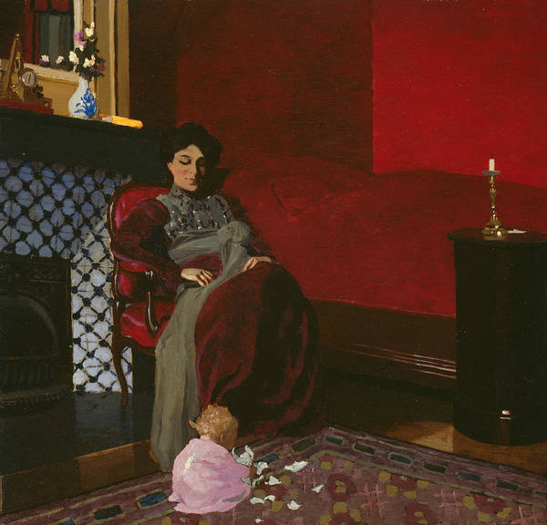 Wall Art - Painting - Madame Vallotton And Her Niece, Germaine Aghion by Felix Edouard Vallotton