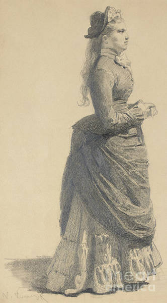 Wall Art - Drawing - Mademoiselle Eugenie, 1877 by Victor Mikhailovich Vasnetsov