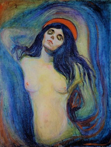 Norway Painting - Madonna 1894 - Original Bluecolor Edition by Edvard Munch