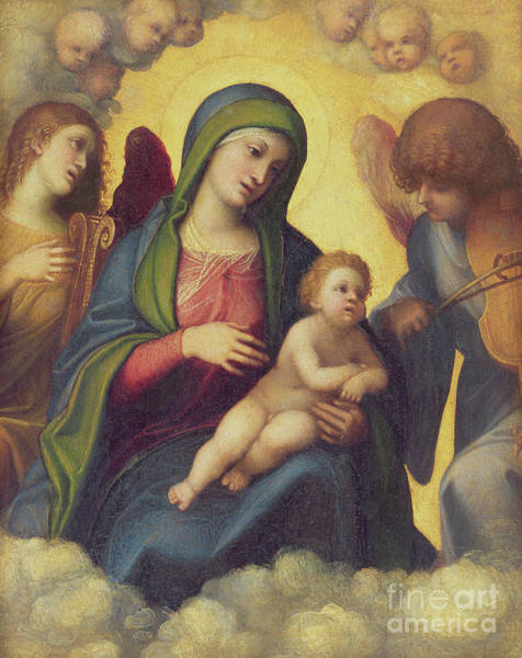 Wall Art - Painting - Madonna And Child And Child In Glory, Circa 1520 by Correggio