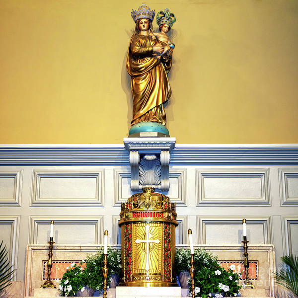 Photograph - Madonna And Child Statue At St. Louis Cathedral by John Rizzuto