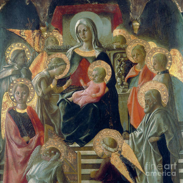 Wall Art - Painting - Madonna And Child With Saints by Filippo Lippi