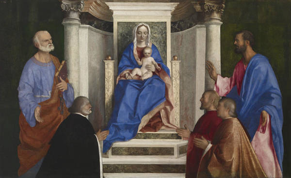 Painting - Madonna And Child With Saints Peter And Mark And Three Venetian Procurators by Giovanni Bellini