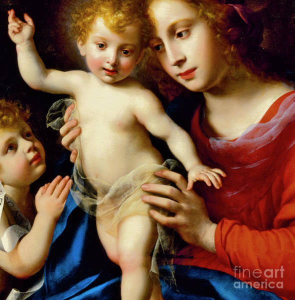Wall Art - Painting - Madonna And Child With St John The Baptist by Carlo Dolci