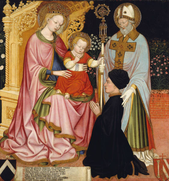 Painting - Madonna And Child With The Donor, Pietro De' Lardi, Presented By Saint Nicholas by Master GZ