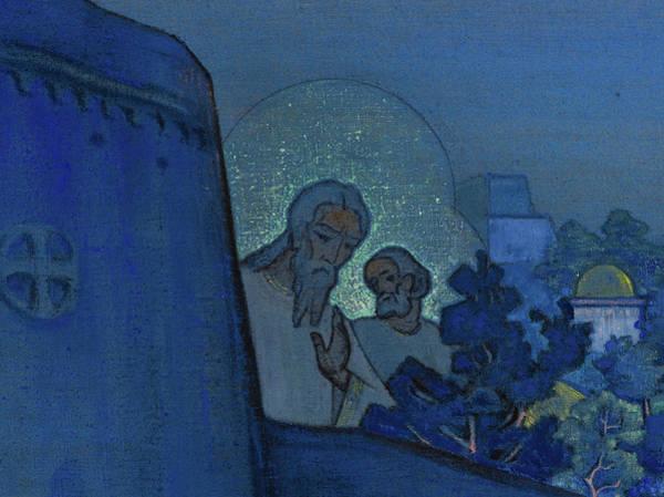 Wall Art - Painting - Madonna Laboris - Lord God And Apostle Peter by Nikolai Konstantinovich Roerich