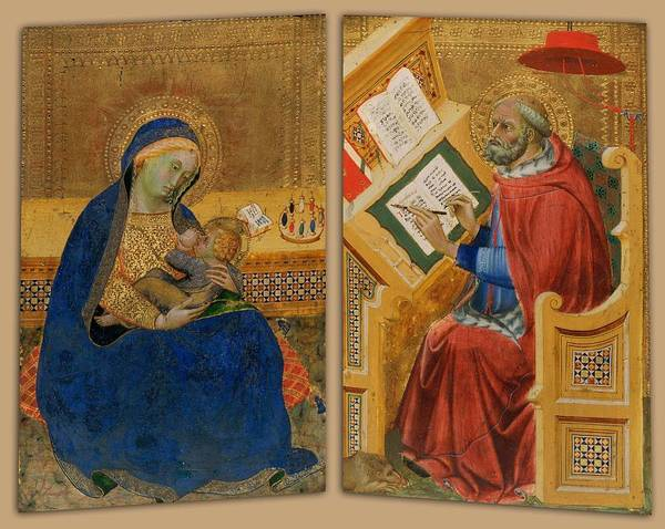 Wall Art - Painting - Madonna Of Humility And St  Jerome   by attributed to Benedetto di Bindo