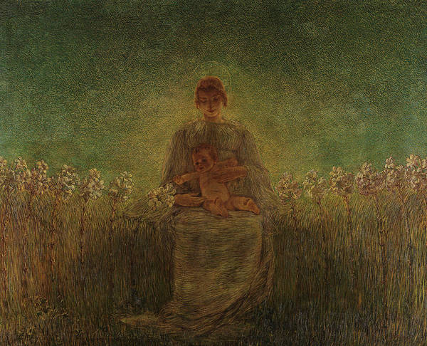 Wall Art - Painting - Madonna Of The Lilies by Gaetano Previati