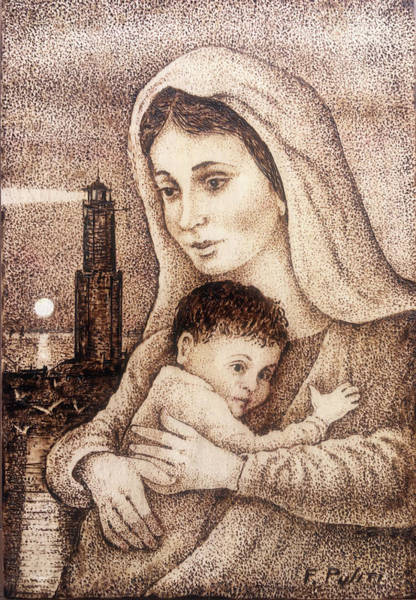 Pyrography Wall Art - Pyrography - Madonna With Lighthouse by Franco Puliti