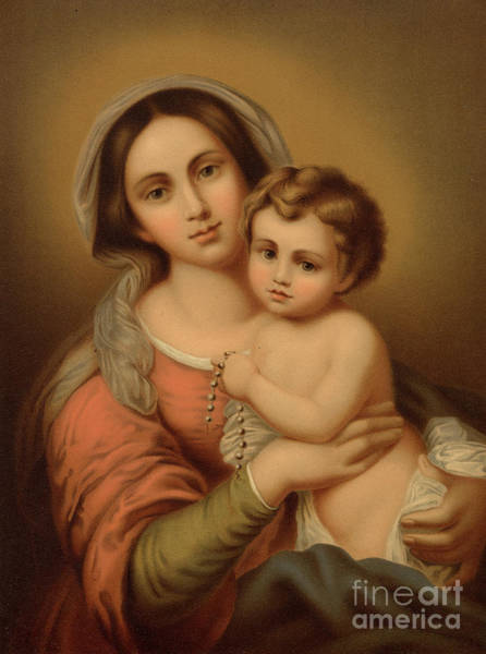 Wall Art - Painting - Madonna With The Child Colour Litho by Bartolome Esteban Murillo