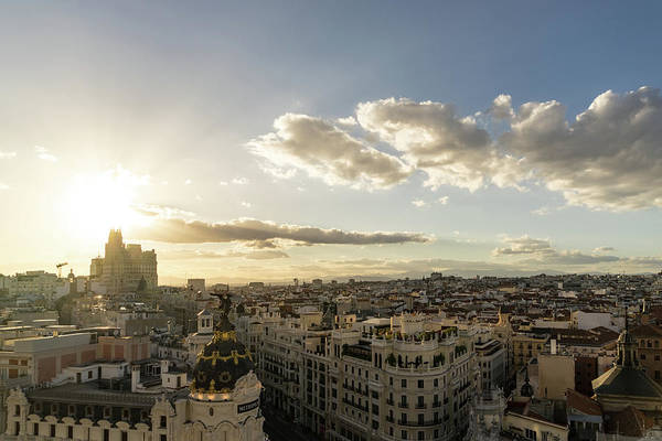 Photograph - Madrid Cityscape From Above - Sundowner Time Over The Rooftops by Georgia Mizuleva