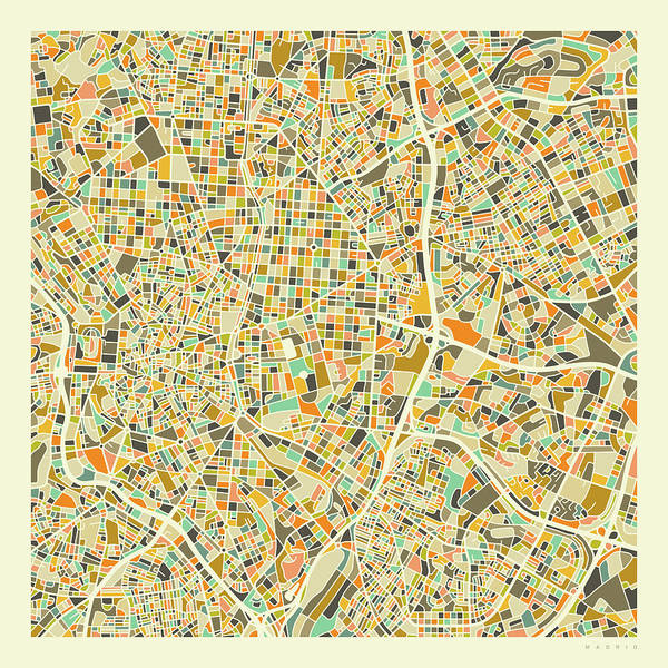 Spain Digital Art - Madrid Map 1 by Jazzberry Blue